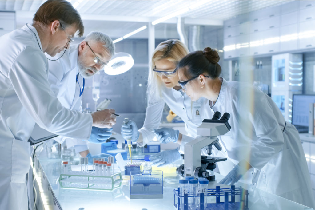 Lab technicians and scientists in the Laboratory