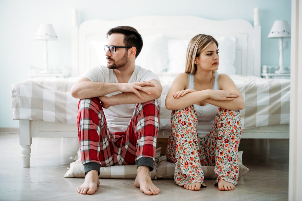 Young couple at odds with another - trouble sleeping