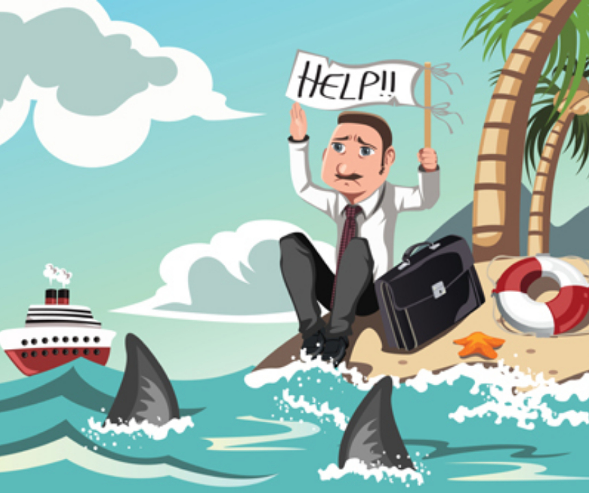 Cartoon business man experiencing stress while stranded on a desert island