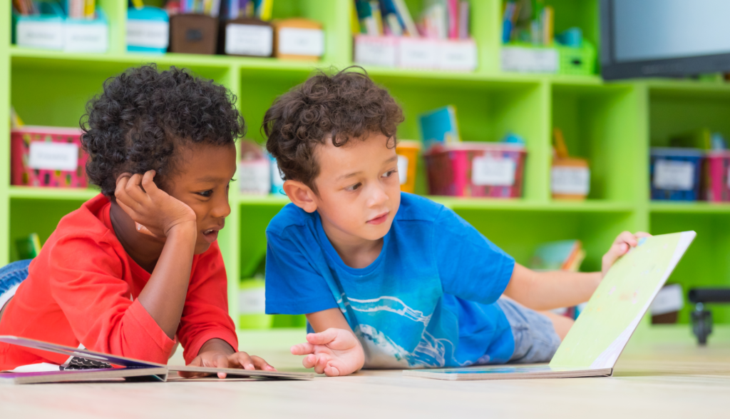 Two boys with healthy cognitive function reading